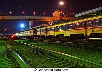 nacht, station, spoorweg