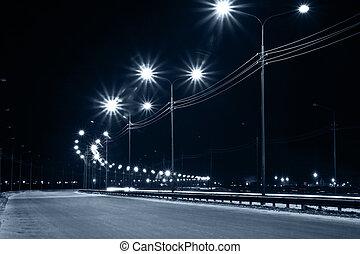nacht, stedelijke , straat, met, lichten, van, lantaarns