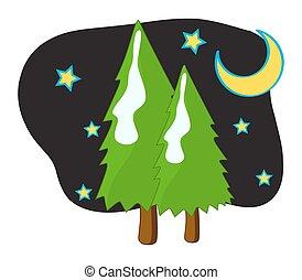 nacht, sterretjes, bomen, maan