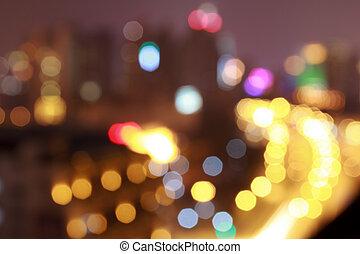 Nacht, straße, Fokus, heraus