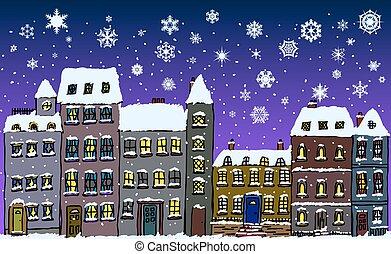 nacht, straat, snowflakes, tijd