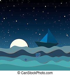 nacht, textuur, maan, visje, abstract, hemel, zee, scheepje, sterretjes, achtergrond., golf