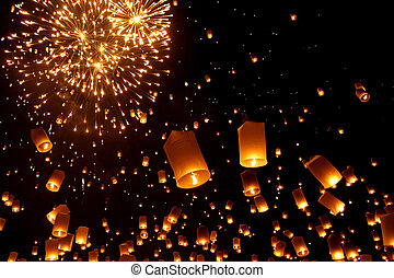 nacht, traditionele , balloon, thailand, chiangmai, newyear...