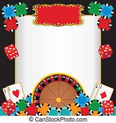 nacht, uitnodiging, casino, feestje, gebeurtenis