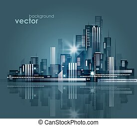 nacht, vektor, abbildung, cityscape.