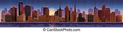 nacht, vektor, illustration., cityscape.