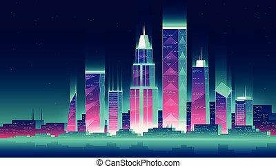 nacht, vektor, illustration., cityscape
