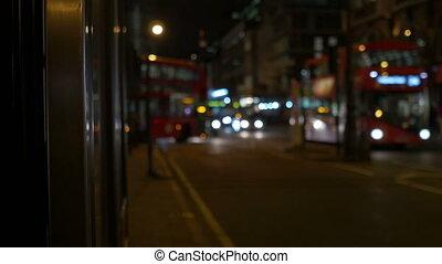 nacht, verkeer, in, londen