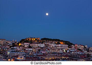 nacht, vol overzicht, maan, lissabon