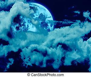 nacht, volle, hemel, maan