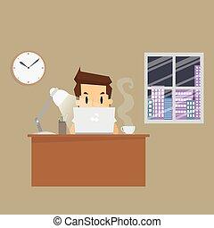 nacht, werkende , zakenman, kantoor, hard