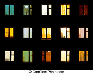 nacht, windows, -, wohnblock, hintergrund