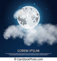 nacht, wolken, sterretjes, maan