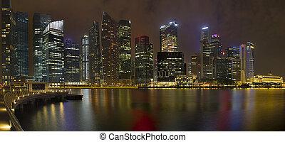nacht, zentraler bezirk, geschaeftswelt, singapur