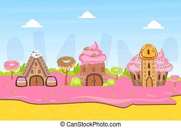 nachtische, fantasie, lieb, abbildung, land, zuckerl, vektor, süßigkeiten, landschaftsbild