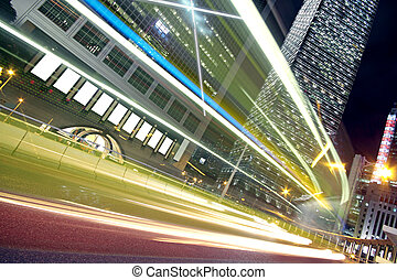 nachtlampje, spoor, moderne architectuur, achtergrond, in, hongkong, china.