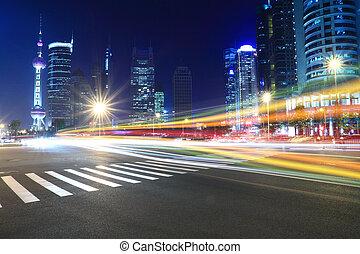 nachtlampje, spoor, moderne architectuur, achtergrond