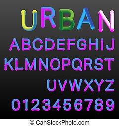 nachylenie, alfabet, kolor, szablon, chrzcielnica, 3d