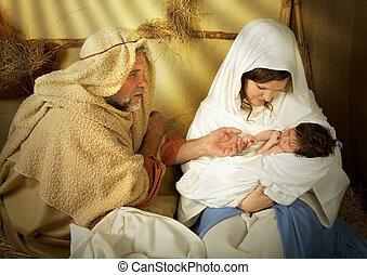 nacimiento de navidad, en, un, pesebre