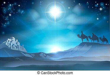 nacimiento de navidad, estrella, y, sabio, mí