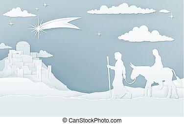 nacimiento de navidad, maría, joseph, y, belén