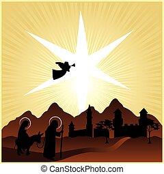 nacimiento de navidad, maría, y, joseph, 2