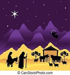nacimiento de navidad, maría, y, joseph, 3