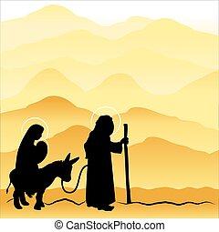 nacimiento de navidad, maría, y, joseph, 4.