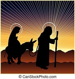 nacimiento de navidad, maría, y, joseph
