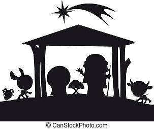 nacimiento de navidad, silueta, ilustración