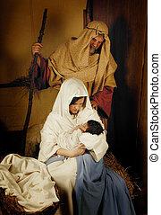 nacimiento de navidad, vivo, escena