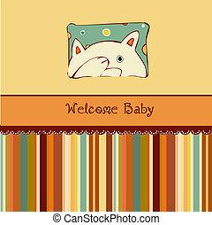 nacimiento, tarjeta, anuncio, con, gato