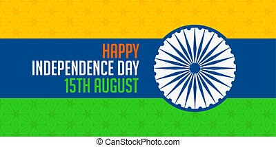 nacional, índia, indianas, bandeira, dia, independência, feliz