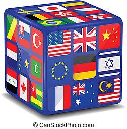 nacional, bandeiras, 3d, cube.vector
