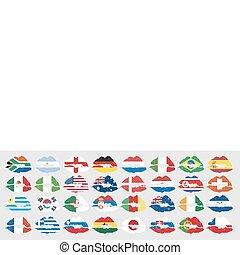 nacional, bandeiras, de, países