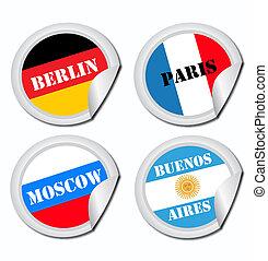 nacional, bandeiras, etiquetas