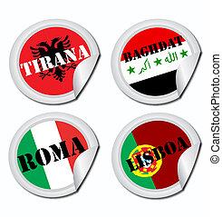 nacional, banderas, etiquetas