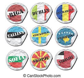 nacional, banderas, papel, etiquetas