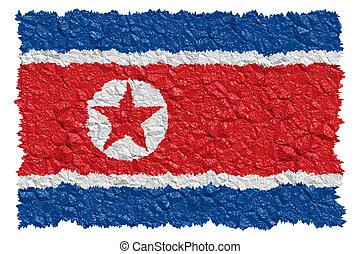 nacional, coréia, norte, bandeira