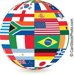 nacional, cuadrado, banderas, forma