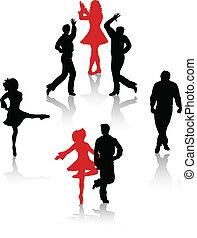 nacional, dançarinos, silueta, povo