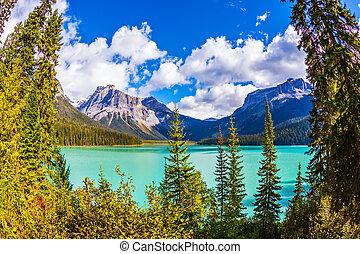 nacional, esmeralda, parque, lago, yoho