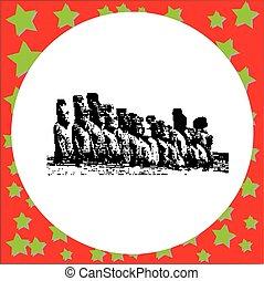 nacional, estatuas, plano de fondo, moai, raraku, isla, rano, parque, aislado, ilustración, vector, negro, chile, nui, volcán, rapa, 8-bit, pascua, blanco