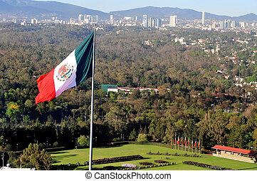 nacional, gigante, bandera mexicana