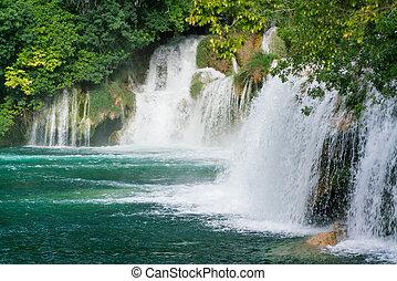 nacional, krka, parque, cascadas