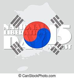 nacional, liberação, dia, vetorial, ilustração, de, coréia...
