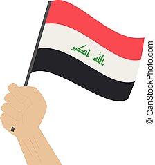 nacional, mão, bandeira, segurando, iraque, levantamento