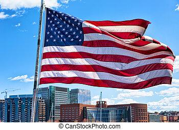 nacional, ma, unido, contorno, estados, puerto, bandera, boston
