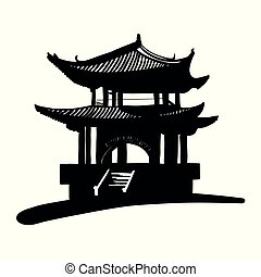 nacional, pagoda., chino