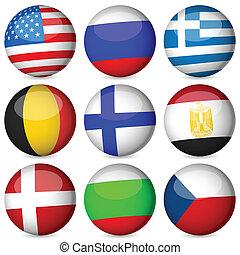 nacional, pelota, conjunto, bandera